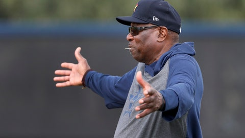 <p>               Houston Astros manager Dusty Baker gestures as he watches his team during spring training baseball practice Thursday, Feb. 13, 2020, in West Palm Beach, Fla. (AP Photo/Jeff Roberson)             </p>