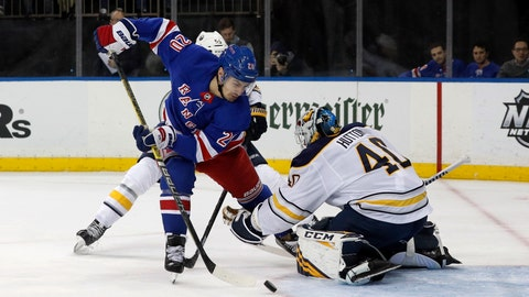 <p>               New York Rangers left wing Chris Kreider (20) misses a scoring chance during the second period of an NHL hockey game against Buffalo Sabres goaltender Carter Hutton, Friday, Feb. 7, 2020, in New York. (AP Photo/Jim McIsaac)             </p>