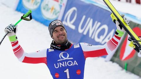 <p>               Austria's Vincent Kriechmayr celebrates winning an alpine ski, men's World Cup Super G, in Hinterstoder, Austria, Saturday, Feb. 29, 2020. (AP Photo/Giovanni Auletta)             </p>