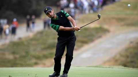 <p>               FILE - In this Sunday, Dec. 15, 2019 file photo, International team player Abraham Ancer of Mexico plays his second shot on the 6th hole in his singles match during the President's Cup golf tournament at Royal Melbourne Golf Club in Melbourne. Ancer says he has started a tequila company called Flecha Azuel. (AP Photo/Andy Brownbill, File)             </p>