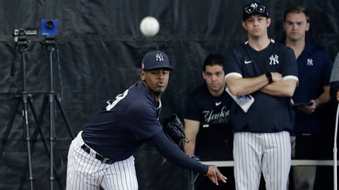 <p>               New York Yankees' Luis Severino delivers a pitch in the bullpenn during a spring training baseball workout Thursday, Feb. 13, 2020, in Tampa, Fla. (AP Photo/Frank Franklin II)             </p>