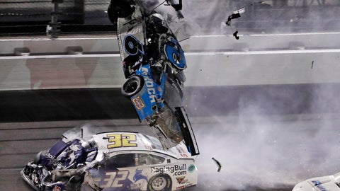 <p>               Ryan Newman (6) goes airborne after crashing into Corey LaJoie (32) during the NASCAR Daytona 500 auto race Monday, Feb. 17, 2020, at Daytona International Speedway in Daytona Beach, Fla. Newman did not suffer life-threatening injuries in the incident. (AP Photo/Chris O'Meara)             </p>