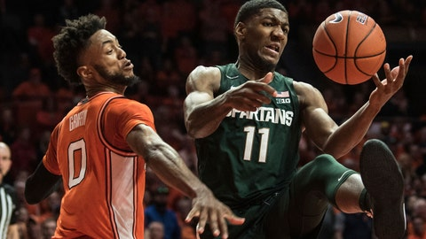 <p>               Michigan State's Aaron Henry (11) battles Illinois' Alan Griffin (0) for the loose ball in the second half of an NCAA college basketball game Tuesday, Feb. 11, 2020, in Champaign, Ill. (AP Photo/Holly Hart)             </p>