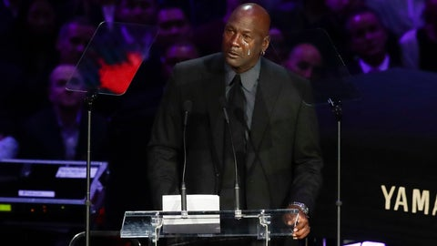 <p>               Former NBA player Michael Jordan cries while speaking during a celebration of life for Kobe Bryant and his daughter Gianna Monday, Feb. 24, 2020, in Los Angeles. (AP Photo/Marcio Jose Sanchez)             </p>