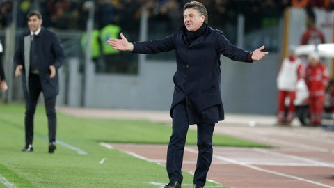 <p>               Torino's head coach Walter Mazzarri reacts during the Serie A soccer match between Roma and Torino at the Rome Olympic Stadium, Italy, Sunday, Jan. 5, 2020. (AP Photo/Andrew Medichini)             </p>