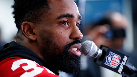 <p>               San Francisco 49ers running back Raheem Mostert speaks during a media availability, Thursday, Jan. 30, 2020, in Miami, for the NFL Super Bowl 54 football game against the Kansas City Chiefs. (AP Photo/Wilfredo Lee)             </p>