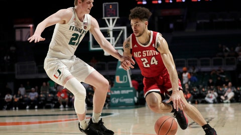 <p>               North Carolina State guard Devon Daniels (24) drives to the basket as Miami forward Sam Waardenburg (21) defends during the first half of an NCAA college basketball game, Wednesday, Feb. 5, 2020, in Coral Gables, Fla. (AP Photo/Lynne Sladky)             </p>