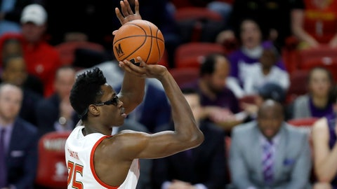 <p>               Maryland forward Jalen Smith shoots a free throw against Northwestern during the first half of an NCAA college basketball game, Tuesday, Feb. 18, 2020, in College Park, Md. (AP Photo/Julio Cortez)             </p>