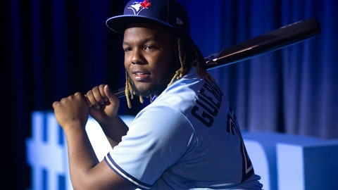 <p>               FILE - In this Saturday, Jan. 18, 2020, file photo, Toronto Blue Jays' Vladimir Guerrero Jr. takes a swing as he waits to be interviewed by the media during the baseball team's Winter Fest celebration in Toronto. After a winter of workouts more intense than any he'd experienced before, Toronto Blue Jays slugger Vladimir Guerrero Jr. is feeling strong. (Chris Young/The Canadian Press via AP, File)             </p>