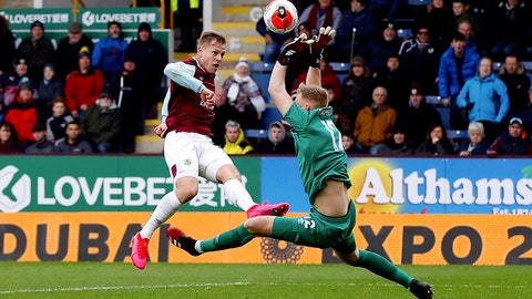 <p>               Bournemouth goalkeeper Aaron Ramsdale, right, saves a shot from Burnley's Matej Vydra during their English Premier League soccer match at Turf Moor in Burnley, England, Saturday Feb. 22, 2020. (Martin Rickett/PA via AP)             </p>