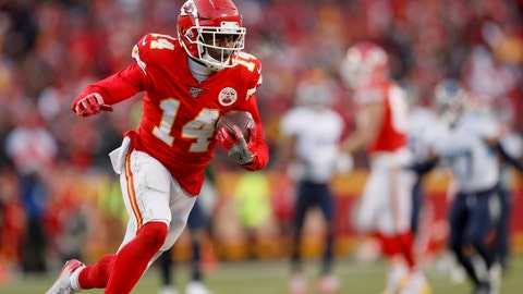 <p>               Kansas City Chiefs' Sammy Watkins catches a touchdown pass during the second half of the NFL AFC Championship football game against the Tennessee Titans Sunday, Jan. 19, 2020, in Kansas City, MO. (AP Photo/Jeff Roberson)             </p>