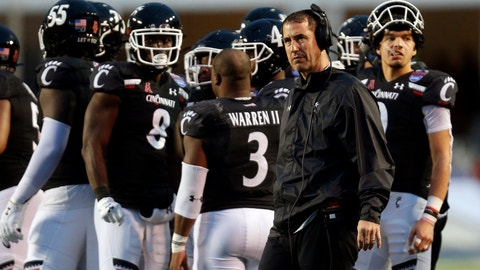<p>               Cincinnati head coach Luke Fickell looks on during a timeout during the first half of the Birmingham Bowl NCAA college football game against Boston College, Thursday, Jan. 2, 2020, in Birmingham, Ala. (AP Photo/Butch Dill)             </p>