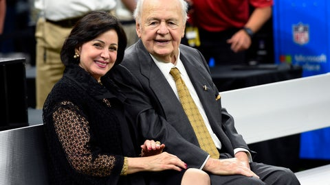 <p>               FILE - In this Sept. 17, 2017, file photo, New Orleans Saints owner Tom Benson sits on the sideline with his wife, Gayle Benson, before an NFL football game in New Orleans. An Associated Press review of public tax documents found that the Bensons' foundation has given at least $62 million to the Archdiocese of New Orleans and other Catholic causes over the past dozen years, including gifts to schools, universities, charities and individual parishes. (AP Photo/Bill Feig, File)             </p>