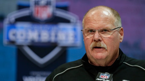 <p>               Kansas City Chiefs head coach Andy Reid speaks during a press conference at the NFL football scouting combine in Indianapolis, Tuesday, Feb. 25, 2020. (AP Photo/Michael Conroy)             </p>