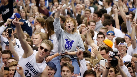 <p>               BYU students and fans celebrate on the court following BYU's 91-78 victory over Gonzaga in an NCAA college basketball game Saturday, Feb. 22, 2020, in Provo, Utah. (AP Photo/Rick Bowmer)             </p>
