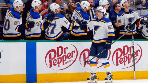 <p>               St. Louis Blues left wing David Perron (57) is congratulated by teammates on the bench after scoring a goal against the Dallas Stars during the first period of an NHL hockey game in Dallas, Friday, Feb. 21, 2020. (AP Photo/Ray Carlin)             </p>