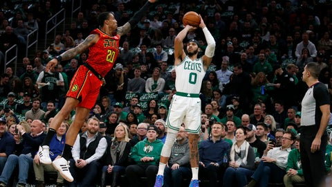 <p>               Boston Celtics forward Jayson Tatum (0) shoots a 3-pointer against Atlanta Hawks forward John Collins (20) during the first half of an NBA basketball game Friday, Feb. 7, 2020, in Boston. (AP Photo/Mary Schwalm)             </p>