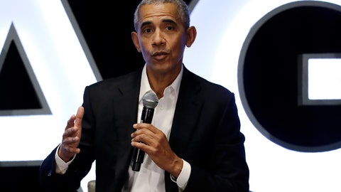 <p>               Former president Barack Obama talks during a panel with NBA players Chris Paul, Kevin Love and Giannis Antetokounmpo and sports analyst Michael Wilbon in Chicago on Saturday, Feb. 15, 2020. (AP Photo/Nam Y. Huh)             </p>