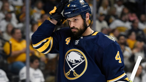 <p>               FILE - In this Jan. 18, 2020, file photo, Buffalo Sabres defenseman Zach Bogosian (4) plays against the Nashville Predators during the second period of an NHL hockey game in Nashville, Tenn. The Sabres placed suspended defenseman Zach Bogosian on unconditional waivers Friday, Feb. 21, with the intention of terminating his contract. The move puts the Sabres in position to part ways with a disgruntled player who asked to be traded earlier this season and spent the past week refusing to report to Buffalo's American Hockey League affiliate in Rochester, New York. (AP Photo/Mark Zaleski, File)             </p>