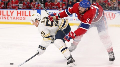 <p>               Buffalo Sabres forward Jeff Skinner (53) is checked by Montreal Canadiens defenseman Shea Weber (6) during the third period of an NHL hockey game Thursday, Jan. 30, 2020, in Buffalo, N.Y. (AP Photo/Jeffrey T. Barnes)             </p>