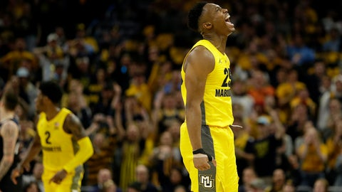 <p>               Marquette's Koby McEwen reacts during the second half of an NCAA college basketball game against Butler, Sunday, Feb. 9, 2020, in Milwaukee. (AP Photo/Aaron Gash)             </p>
