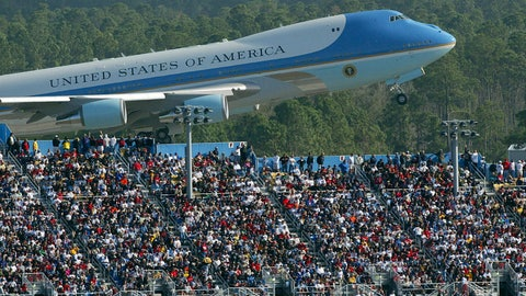 <p>               FILE - In this Feb. 15, 2004, file photo, Air Force One rises above the packed grand stands along the super stretch at Daytona International Speedway in Daytona Beach, Fla. Bush arrived before the race, talked with drivers along pit road and gave the command for drivers to start their engines. President Donald Trump will look to rev up his appeal with a key voting demographic Sunday — NASCAR fans — as he takes in the Daytona 500. (Jim Tiller/Daytona Beach News-Journal Pool via AP)             </p>