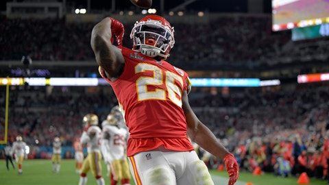 <p>               Kansas City Chiefs' Damien Williams celebrates his touchdown against the San Francisco 49ers during the second half of the NFL Super Bowl 54 football game Sunday, Feb. 2, 2020, in Miami Gardens, Fla. (AP Photo/Mark J. Terrill)             </p>