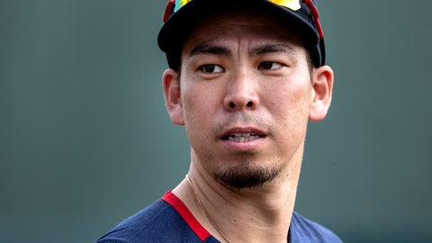 <p>               Minnesota Twins pitcher Kenta Maeda watches during spring training baseball practice on Thursday., Feb. 13, 2020 in Fort Myers, Fla. The Minnesota Twins welcome Kenta Maeda to their rotation, after a held-up trade was finally completed with the Los Angeles Dodgers. (Carlos Gonzalez/Star Tribune via AP)             </p>
