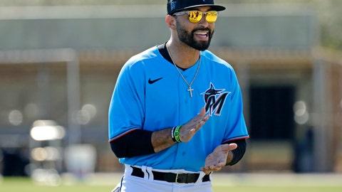 <p>               Miami Marlins outfielder Matt Kemp (27) looks on during spring training baseball practice in Jupiter, Fla., Monday, Feb. 17, 2020. (David Santiago/Miami Herald via AP)             </p>