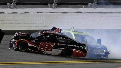 <p>               Daniel Suarez (96) and Ryan Blaney (12) crash into each other during a NASCAR Daytona 500 qualifying auto race Thursday, Feb. 13, 2020, at Daytona International Speedway in Daytona Beach, Fla. (AP Photo/Chris O'Meara)             </p>