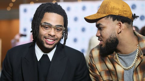 <p>               New Minnesota Timberwolves NBA basketball player D'Angelo Russell, left, chats with Timberwolves' Karl-Anthony Towns after Russell was introduced at a news conference, Friday, Feb. 7, 2020, in Minneapolis, following a trade that sent Timberwolves' Andrew Wiggins to the Golden State Warriors. (AP Photo/Jim Mone)             </p>