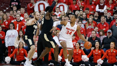 <p>               Ohio State's Kaleb Wesson, right, posts up against Purdue's Trevion Williams during the first half of an NCAA college basketball game Saturday, Feb. 15, 2020, in Columbus, Ohio. Ohio State beat Purdue 68-52. (AP Photo/Jay LaPrete)             </p>