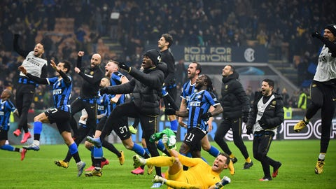 <p>               Inter Milan players celebrate after their Serie A soccer match victory over AC Milan at the San Siro Stadium, in Milan, Italy, Sunday, Feb. 9, 2020. (Massimo Paolone/Lapresse via AP)             </p>