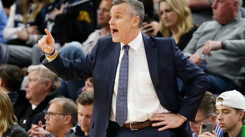 <p>               Oklahoma City Thunder's head coach Billy Donovan directs his team against the Minnesota Timberwolves in the second half of an NBA basketball game Monday, Jan. 13, 2020, in Minneapolis. The Thunder won 117-104. (AP Photo/Jim Mone)             </p>