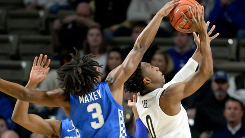 <p>               Kentucky guard Tyrese Maxey (3) blocks Vanderbilt guard Saben Lee's (0) shot from behind during the first half of an NCAA college basketball game Tuesday, Feb. 11, 2020, in Nashville, Tenn. (AP Photo/Mark Zaleski)             </p>