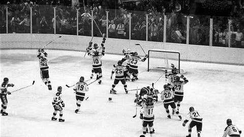 <p>               FILE - In this Feb. 22, 1980, file photo, the U.S. ice hockey team rushes toward goalie Jim Craig after their 4-3 upset win over the Soviet Union in a medal round match at the Winter Olympics in Lake Placid, N.Y. Some of the U.S. players shown are Mark Johnson (10); Eric Strobel (19); William Schneider (25); David Christian (23); Mark Wells (15); Steve Cristoff (11); Bob Suter (20) and  Philip Verchota (27).  (AP Photo/File)             </p>