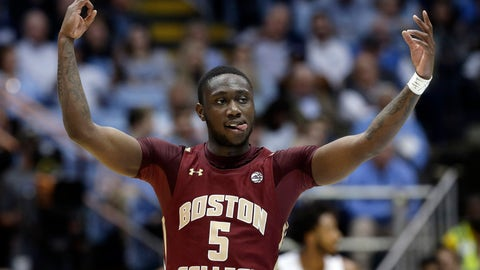<p>               Boston College guard Jay Heath (5) reacts following a basket during the first half of an NCAA college basketball game against North Carolina in Chapel Hill, N.C., Saturday, Feb. 1, 2020. (AP Photo/Gerry Broome)             </p>