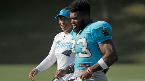 <p>               FILE - In this July 29, 2019, file photo, Carolina Panthers coaching intern Jennifer King, left, talks with Elijah Holyfield (33) during practice at the NFL football team's training camp in Spartanburg, S.C. The Washington Redskins have hired Jennifer King as a coaching intern who will work with the offensive staff throughout the season. King most recently worked as an offensive assistant at Dartmouth College. Before that she interned for the Carolina Panthers. (AP Photo/Chuck Burton, File)             </p>