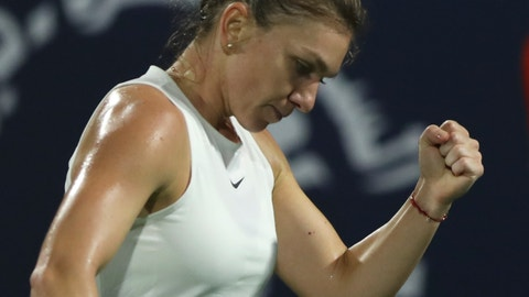 <p>               Romania's Simona Halep reacts after she got a point against Kazakhstan's Elena Rybakina during the final match of the Dubai Duty Free Tennis Championship in Dubai, United Arab Emirates, Saturday, Feb. 22, 2020. (AP Photo/Kamran Jebreili)             </p>