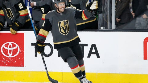<p>               Vegas Golden Knights center Nick Cousins (21) celebrates after scoring against the Edmonton Oilers during the third period of an NHL hockey game Wednesday, Feb. 26, 2020, in Las Vegas. (AP Photo/John Locher)             </p>