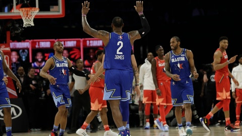 <p>               LeBron James of the Los Angeles Lakers celebrates during the second half of the NBA All-Star basketball game Sunday, Feb. 16, 2020, in Chicago. (AP Photo/Nam Huh)             </p>