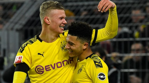 <p>               Dortmund's scorer Erling Haaland celebrates with Jadon Sancho, right, after he scored his side's 5th goal during the German Bundesliga soccer match between Borussia Dortmund and 1. FC Cologne in Dortmund, Germany, Friday, Jan. 24, 2020. Dortmund defeated Cologne with 5-1, Haaland scored twice. (AP Photo/Martin Meissner)             </p>