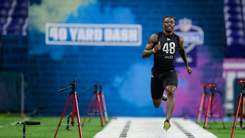 <p>               Alabama wide receiver Henry Ruggs III runs the 40-yard dash at the NFL football scouting combine in Indianapolis, Thursday, Feb. 27, 2020. (AP Photo/Michael Conroy)             </p>