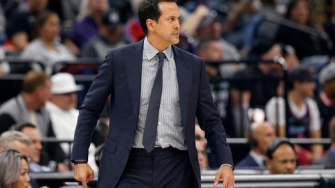 <p>               Miami Heat coach Erik Spoelstra glares at the referees after a foul call against the Heat during the first quarter of the team's NBA basketball game against the Sacramento Kings in Sacramento, Calif., Friday, Feb. 7, 2020. 6(AP Photo/Rich Pedroncelli)             </p>