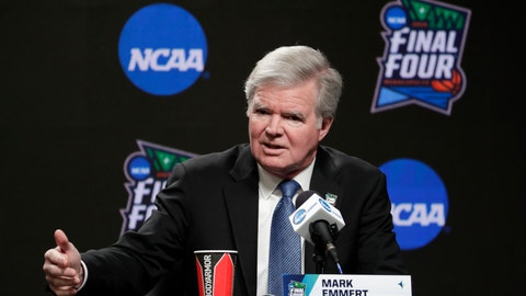 <p>               FILE - In this April 4, 2019, file photo, NCAA President Mark Emmert answers questions at a news conference at the Final Four college basketball tournament in Minneapolis. Emmert and other college sports leaders say they are concerned about allowing college athletes to enter the free market with no restrictions on how and by whom they can be paid for endorsements. (AP Photo/Matt York, File)             </p>
