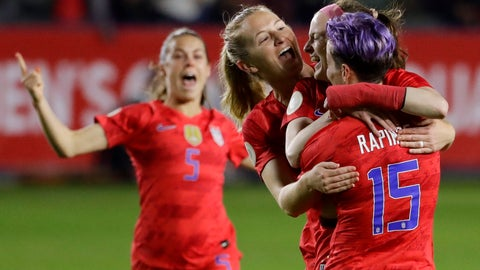 <p>               U.S. players celebrate after a goal by midfielder Rose Lavelle, second from right, during the first half of a CONCACAF women's Olympic qualifying soccer match against Mexico on Friday, Feb. 7, 2020, in Carson, Calif. (AP Photo/Chris Carlson)             </p>