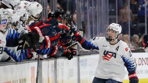 <p>               United States' Hilary Knight celebrates after scoring against Canada during the first period of a Rivalry Series hockey game in Anaheim, Calif., Saturday, Feb. 8, 2020. (AP Photo/Chris Carlson)             </p>
