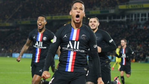 <p>               PSG's Thilo Kehrer, right, celebrates scoring his side's second goal during the League One soccer match between Nantes and Paris-Saint-Germain, in Nantes, western France, Tuesday, Feb. 4, 2020. (AP Photo/David Vincent)             </p>
