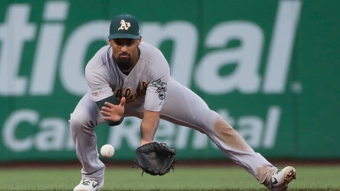 <p>               FILE - In this Aug. 13, 2019, file photo, Oakland Athletics shortstop Marcus Semien fields a grounder by San Francisco Giants' Buster Posey, who was out at first during a baseball game in San Francisco. Semien will look to build momentum from a career season that included being top three in the AL MVP voting. He was rewarded with a new $13 million, one-year contract to avoid arbitration, a raise of $7.1 million. (AP Photo/Jeff Chiu, File)             </p>