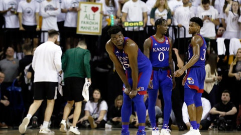 <p>               Kansas center Udoka Azubuike looks up at the scoreboard during a timeout in the second half of an NCAA college basketball game against Baylor on Saturday, Feb. 22, 2020, in Waco, Texas. (AP Photo/Ray Carlin)             </p>